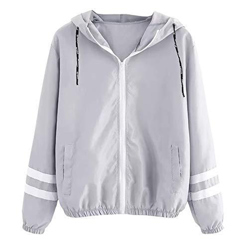TianWlio Damen Jacke Frauen Lange Ärmel Patchwork dünne Skinsuits Kapuzen Reißverschluss Taschen Sport Mantel