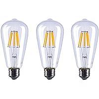 Aselight ST648W vintage lampadina LED dimmerabile, 2700K 8W 800lumen retro vecchio stile Edison a vite E27ST64, sostituisce 80W 220V filamento di tungsteno in vetro antico lampada, filamento LED bianco caldo lampadine ST64–8W-ww-e27,3confezione