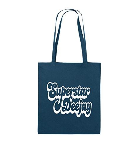 Comedy Bags - Superstar Deejay - Jutebeutel - lange Henkel - 38x42cm - Farbe: Schwarz / Silber Navy / Weiss