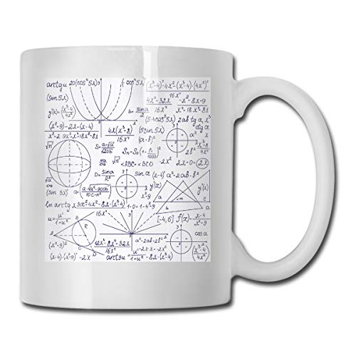 Jolly2T Funny Ceramic Novelty Coffee Mug 11oz,School Genius Smart Student Math Geometry Science Numbers Formules Image Art,Unisex Who Tea Mugs Coffee Cups,Suitable for Office and Home