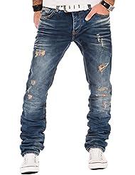 Redbridge RBC by Cipo & Baxx Herren Jeans Denim Hose Vintage Design Used Destroyed