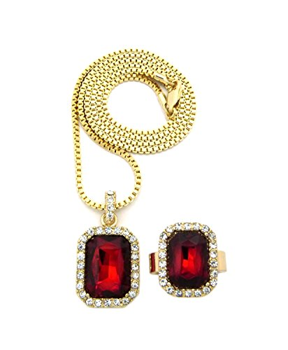 Rhinestone Studded Faux Ruby Stone Necklace and Ring Size 8 Set in Gold-Tone