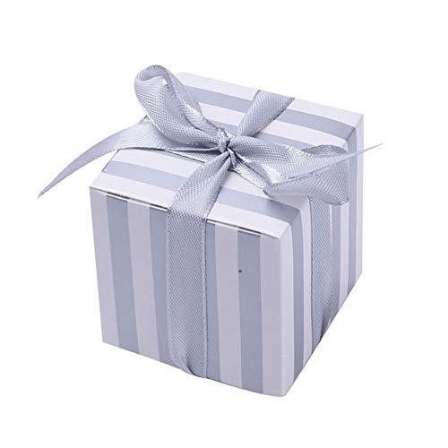 NBEADS 50 Sätze Papier Box Hochzeit Pralinenschachtel Platz Geschenkbox für Hochzeitsbevorzugungen und Partygeschenke Souvenirs, Silbern Silberfarbig, 55x55x55 mm