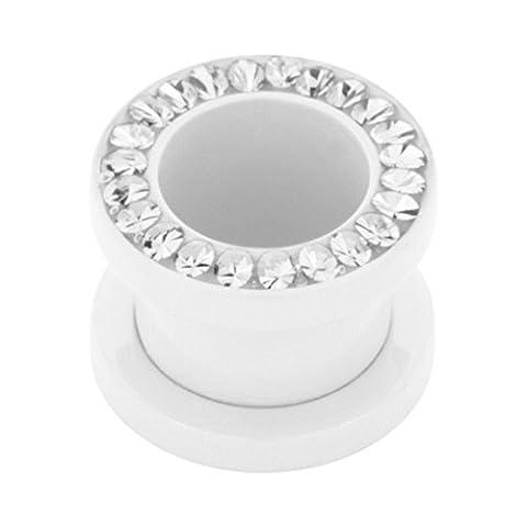 eeddoo® 6 mm - CC - Crystal Clear/ Kristallklar - Stahl - Flesh Tunnel - weiß - Kristall - SWAROVSKI - Supernova Concept (Piercing Tunnel Ohr Plug für gedehnte Ohren Lobes (Swarovski Sapphire Kreuz)