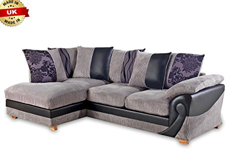 New Illusion Corner Group Sofa Settee Leather Fabric Right ...