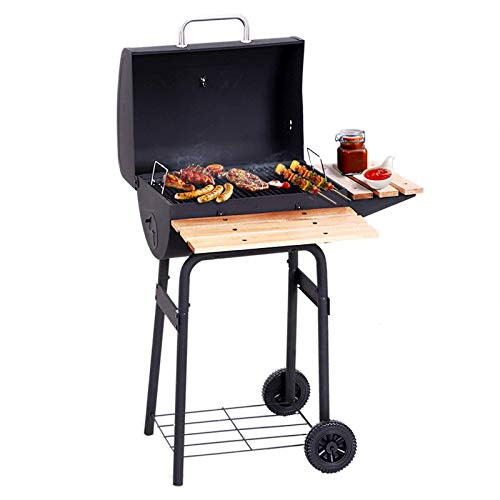 41zQ5pkg04L. SS500  - Outsunny Portable Charcoal BBQ Grill Trolley Steel Backyard Barbecue Outdoor Garden Smoker Full Barrel w/Wheels