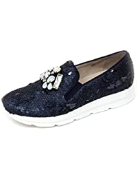 3560ad3dc4443 UNO 8 UNO D0710 Mocassino Donna 181 SIRI Scarpe Blu Slip on Shoe Woman