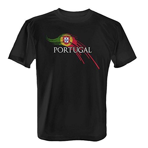 Fashionalarm Herren T-Shirt - Brush Flagge Portugal | Fan Shirt Trikot Fußball Weltmeisterschaft WM Fahne Weltmeister Fußballfan Fanartikel 2018, Farbe:Schwarz;Größe:L