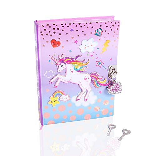 diario de girlz unicorn secret estilo con cerradura y llaves - cuaderno de niñas diario con candado de corazón
