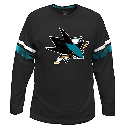 Profile Big & Tall NHL San Jose Sharks lang Arm Sleeve Tee mit doppelter Arm Streifen, groß, Schwarz (Shirt Sleeve Sh)