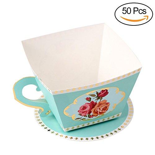 (aerwo 50Teetasse Form Party Favor Box Candy Geschenke Boxen für Bridal Dusche Baby Dusche und Tea Party Dekorationen blau)