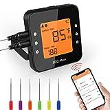SicherZuHause Thermomètre de Cuisine Bluetooth Professionnel sans Fil 6 Sondes Mode Cuisson Programmable LCD Ecran WiFi Thermomètre à Viande Barbecue Pâtisserie BBQ Chocolat Support Smartphone