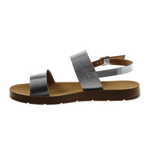 2 Tallone Cavigliera Gloss Cm Modo Donna Sandalo Scarpa Verniciato Angkorly Argento Di Compensata HnqnwxaSB
