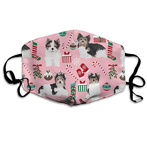 Biewer Terrier Pink Christmas Cute Toy Breed Dog Design Cute Yorkie Toy Dogs Anti-dust Cotton Mouth Face Masks Reusable for Outdoor Half Face Masks