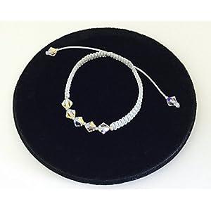 Fine Arts by Eva Neff-El Raddaf Armband aus gewachster Baumwolle mit echten Swarovski Kristallen und Silber Beads