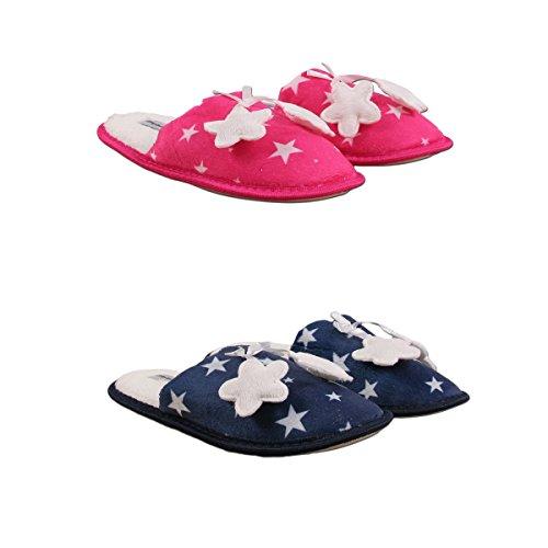 Ozabi Pantoufles Femme Lot DE 2 Marine/Rose
