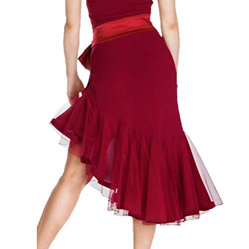 Professioneller Latin Dance Rock für Erwachsene/Damen Einfarbig Klassischer Rumba/Samba Tango Tanz Praxis Rock Stretch Training Dance Kurzer Rock,Burgundy,M (Irische Tanz Kostüm Für Erwachsene)