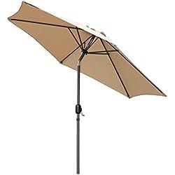 Angel Living Parasol de Jardin avec Pare-Soleil à mécanisme d'inclinaison par manivelle pour Balcon de terrasse (270cm Beige)