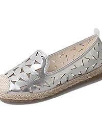 ZQ YYZ Zapatos de mujer-Tac¨®n Plano-Comfort-Planos-Exterior / Casual-Semicuero-Negro / Rojo / Blanco / Plata , silver-us6 / eu36 / uk4 / cn36 , silver-us6 / eu36 / uk4 / cn36