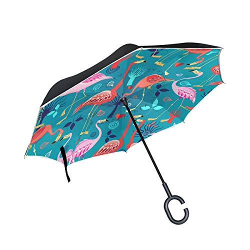 rodde Flash Reverse Lovers Flamingos Windproof Regenschirme für Outdoor mit C-förmigen Griff Double Layer Inverted