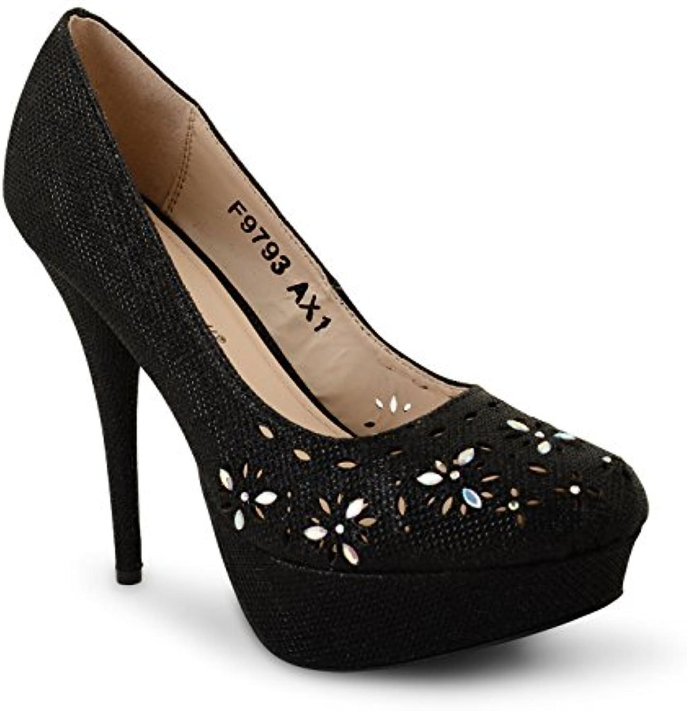 Tilly Shoes Plataforma Oculta Tacón bombas de boda novia zapatos fiesta Prom Tamaño -