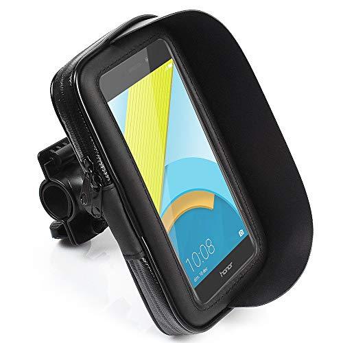 CLM-Tech Handy Fahrradhalterung für bis zu 5,5 Zoll Smartphones, Motorrad Halterung, wasserdichter Halter, schwarz, Kunstleder Lenkertasche
