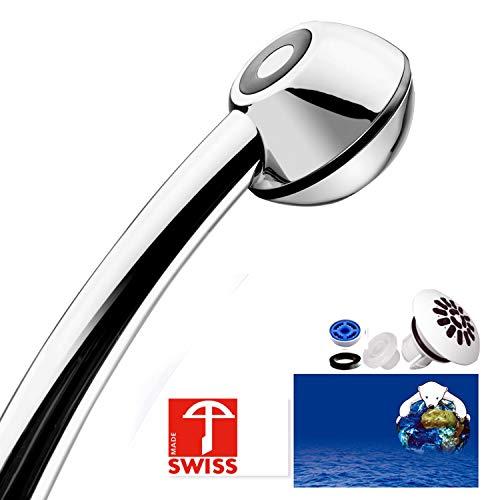 Sparbrause SwissClima BLACK ECO für mehr Druck, Durchlauferhitzer oder Nebenkosten-Reduktion: kalkfrei, kräftiger Strahl, Aufsatz für weichen Regenstrahl, 1 Reduzierer f. 2 Durchflussmengen (Aqua-durchlauferhitzer)