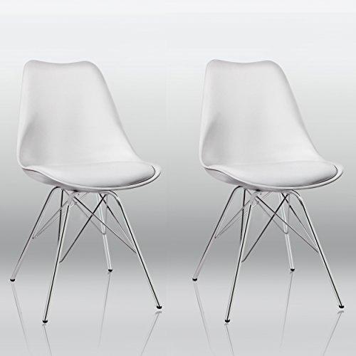 Duhome Esszimmerstuhl 2er Set Küchenstuhl Weiß Kunststoff mit Sitzkissen Stuhl Vintage Design Retro Farbauswahl 518J