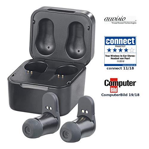 auvisio Kabellose Kopfhörer: True Wireless In-Ear-Headset mit Powerbank-Etui, 7,5 Std. Spielzeit (in Ear Kopfhörer, Bluetooth) -
