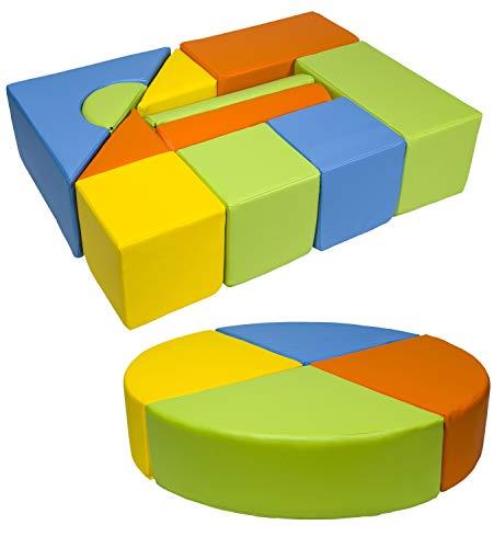 *Velinda 15 Großbausteine Softbausteine Schaumstoffbausteine Bauklötze Schloss+Rad-Set (Farbe: gelb,grün,orange,hellblau)*
