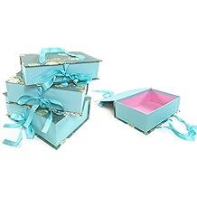 Floral rectangular cartón duro Caja De Regalo De Almacenamiento De Navidad + asa de transporte y cinta [azul], Set of 3 (S+M+L)