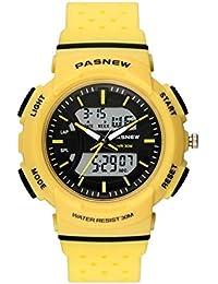 4d37f32bbb95 TD Reloj Deportivo Masculino Reloj Electronico Impermeable Adolescentes  Reloj De Pulsera Niño (Color   Amarillo