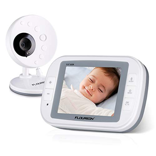 FLOUREON Babyphone Wireless mit Kamera, Baby Monitor Video Kamera 3.5 Zoll LCD Display 2-Wege Audio Gegensprechfunktion, Nachtsicht, Temperatursensor, Schlaflieder, Weiß