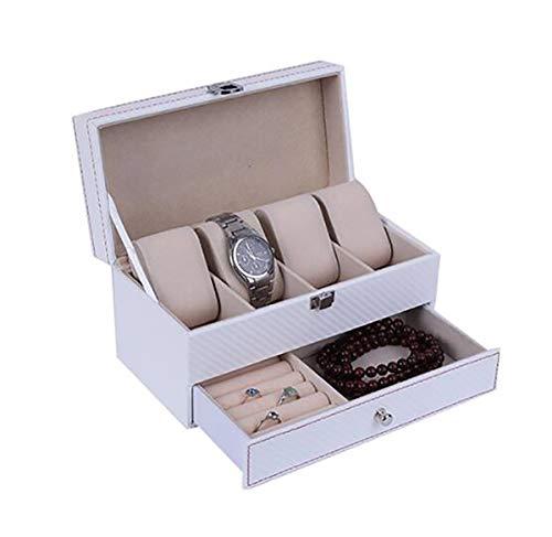 WG Kohlefaser 2 Schichten 4-Bit-Box mit Schublade Uhrenbox Lagerung Uhren Display Aufbewahrungsbox Fall Schmuck Uhr Collector Case,A