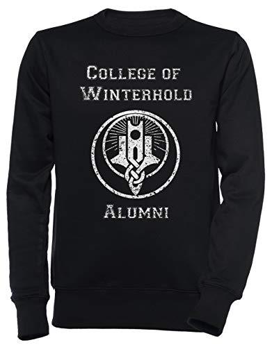 College of Winterhold Alumni Unisex Herren Damen Jumper Sweatshirt Pullover Schwarz Größe L Men's Women's Jumper Black T-Shirt Large Size L