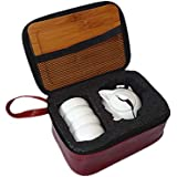 KITCHY Chinese Kung Fu Tea Set With Bamboo Tray, Ceramic Tea Pot Set With Bag, Portable Travel Tea Tray Set, Tea Tools Ceremony Teaware: M, Style-4