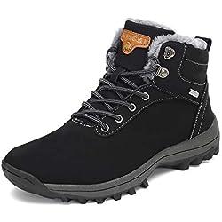 Botines Impermeables Hombre Mujer Botas de Nieve Botines Zapatos Senderismo Impermeables Deportes Trekking Zapatos Fur Forro Aire Libre Boots Mishansha Negro 42 EU