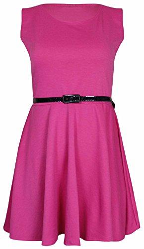 Damen Neues Einfarbiges Tailliertes Skater Etui Kleid Ärmellos Übergröße Kirschrot