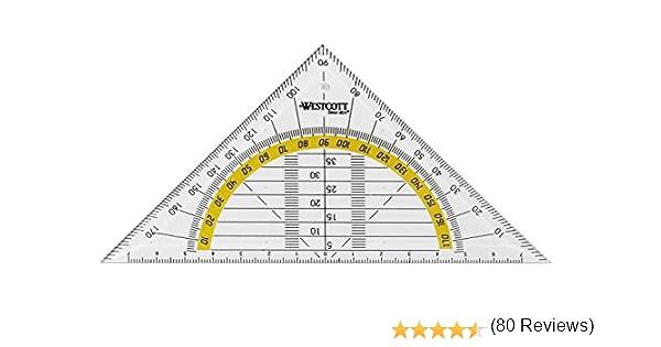confezione da 20 trasparente Westcott E-10130 BP-I Squadra geometrica in plastica 14 cm