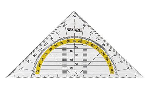 Westcott E-10130 00 Squadra geometrica in plastica, 14 cm, trasparente