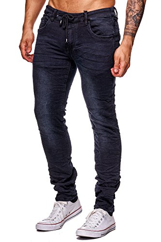 MEGASTYL Jeans-Hose Herren Streetwear-Style Jogg-Denim Darkness Schwarz Stretch 5-Pocket Slim-Fit, FARBE:Schwarz, GRÖSSE:W34 / L34 (5-pocket-easy Jean Fit)