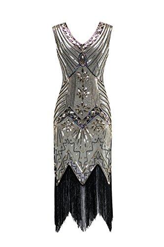 er Jahre V Ausschnitt Perlen Fransen Gatsby Thema Flapper Kleid für Abschlussball ()