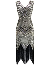 Metme Womens 1920s V Neck Beaded Fringed Gatsby Theme Flapper Dress Prom