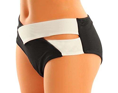 Arrowhunt Damen Mädchen Schwarz und Weiß Zweiteilige Neckholder Push Up Bikini Set Schwarz Weiß