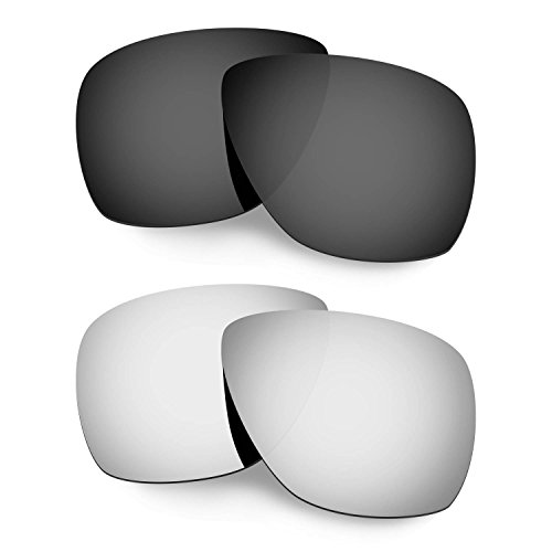 HKUCO Mens Replacement Lenses For Oakley Breadbox Black/Titanium Sunglasses