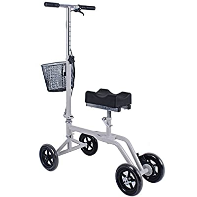 Outdoor Knee Walker Folding Rollator Adjustable Scooter All Terrain Knee Aluminium with Brakes
