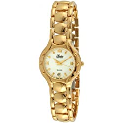 Swiss Edition se3812-l Damen Goldfarbene runde Kleid Armbanduhr