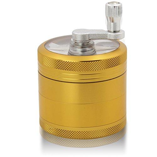 DCOU Handkurbel Premium Mühle unzerbrechlich CNC Aluminium Metall Kräuter Tabak Mahler Schleifer, 4 Teile, Ø55mm (Mattes Gold)