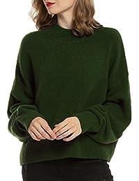 Woolen Bloom Strickpullover Damen Strickpulli Oversize Rundhals Pullover Kurz Pulli Langarm Einfarbig Sweater Oberteil Tops für Herbst Winter