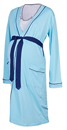 Happy Mama Maternity Gown Robe Nightie for Labour & Birth. SOLD SEPARATELY 393p (Robe - Light Blue, UK 14/16, XL)